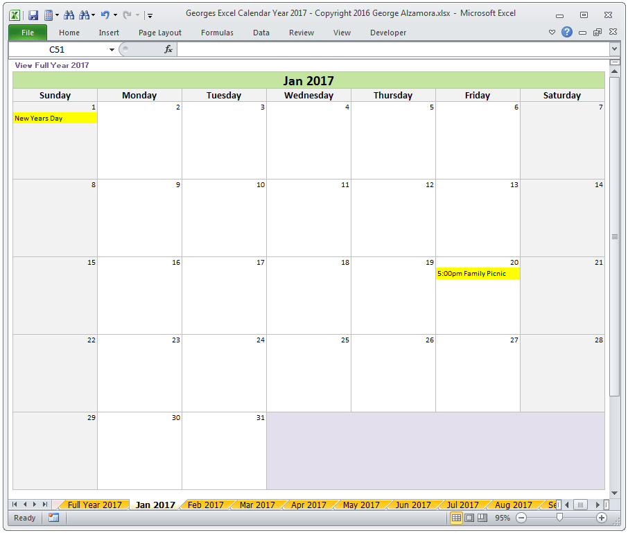 Create Your Own Calendar July August
