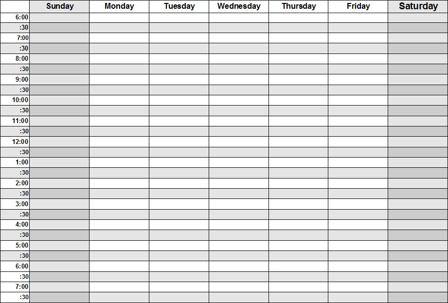 Daily Calendar Template With Times
