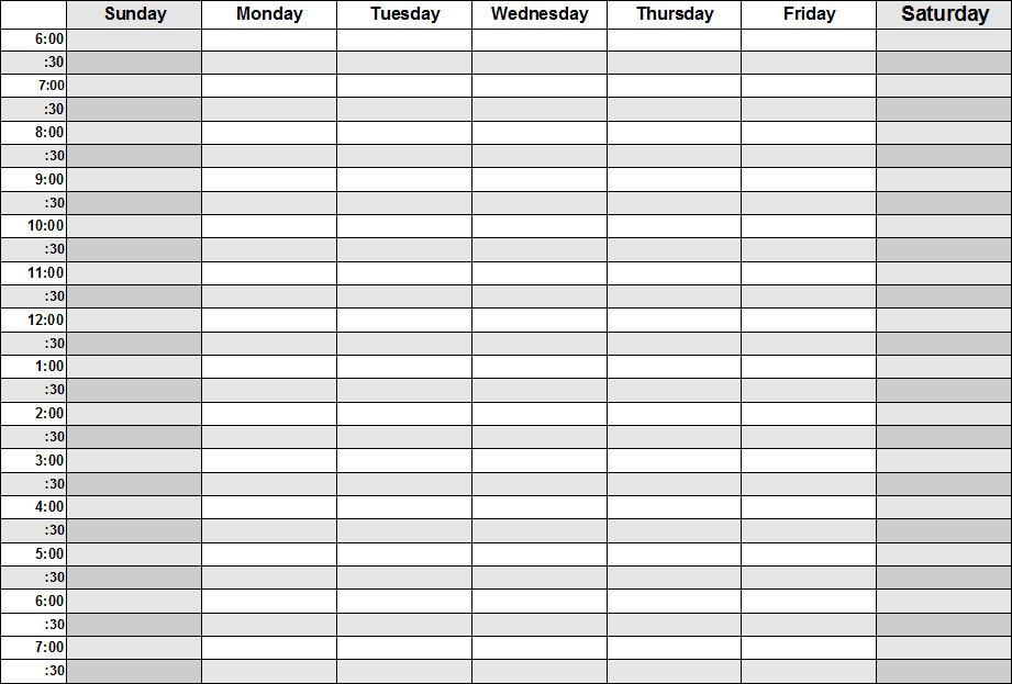 daily calendar with times calendar template 2018