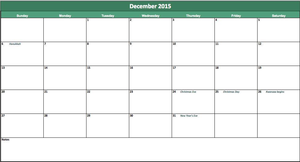 Excel Calendar Template 2015
