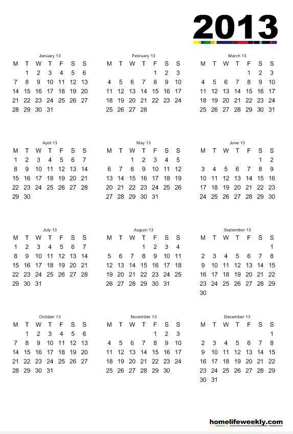 Free Online Calendar November 2013