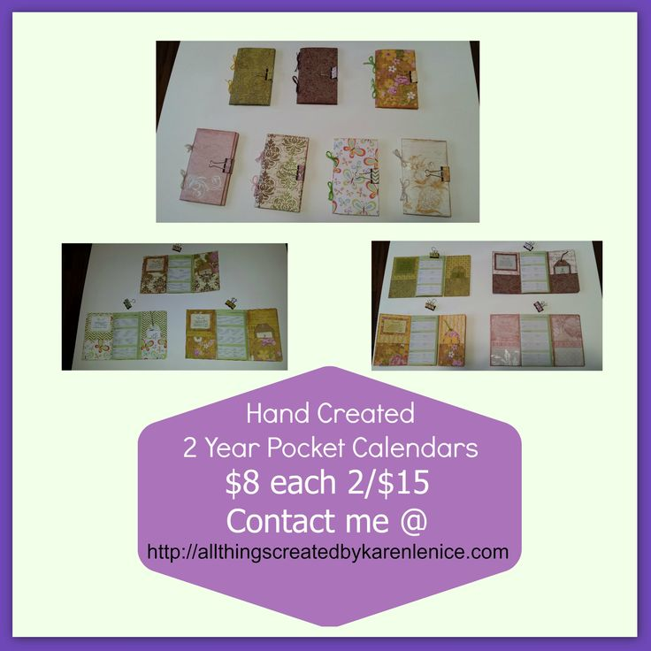 Hand Created 2 Year Pocket Calendars  Great For Gift Giving