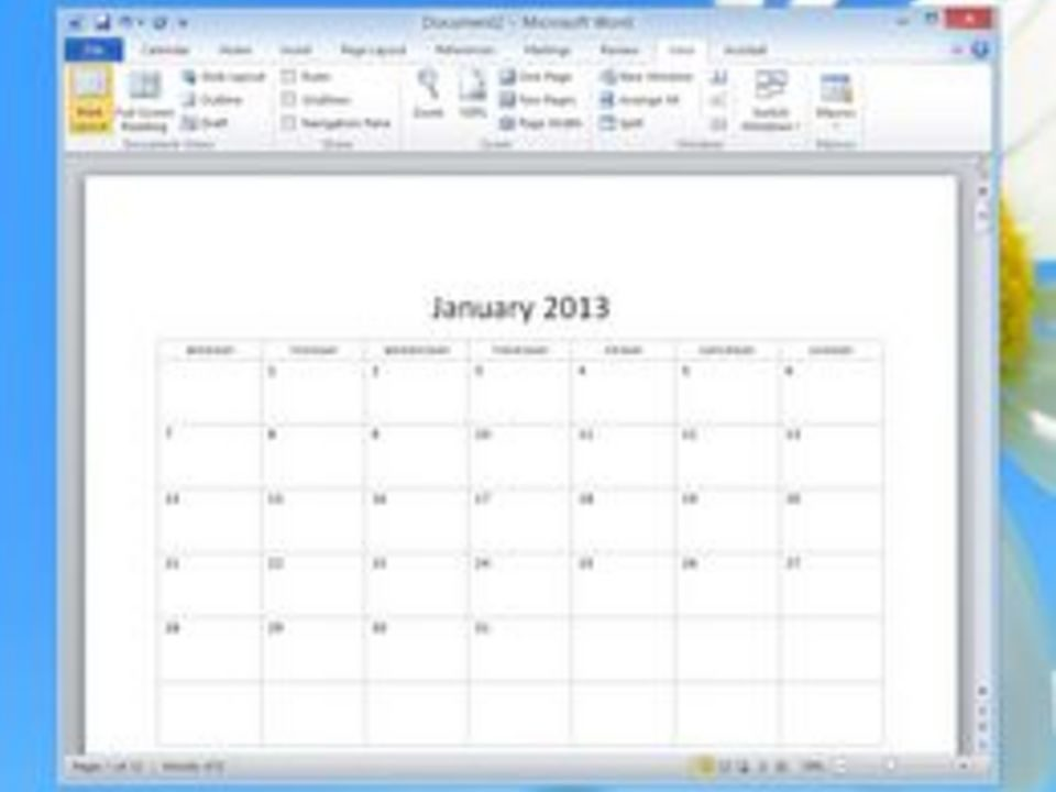 How To Create A Blank Monthly Calendar