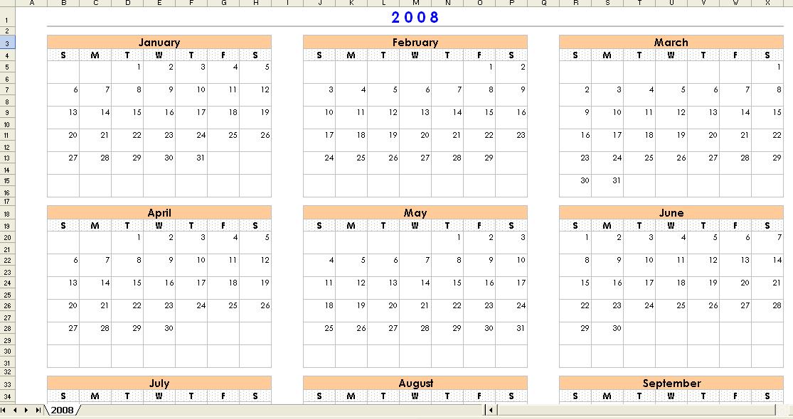 Kgapofem  Yearly Calendar Template
