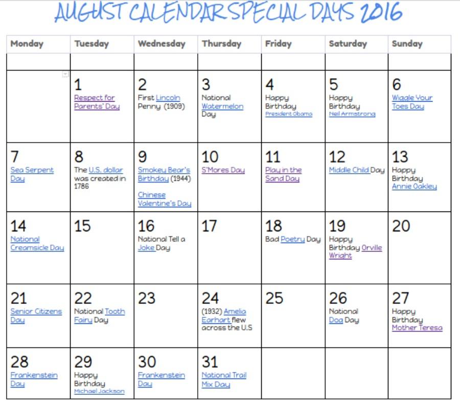 Kids Creative Chaos  August Calendar Printable  Special Days