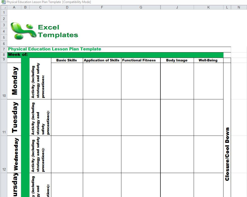 Lesson plan calendar template calendar template 2018 for Yearly lesson plan template