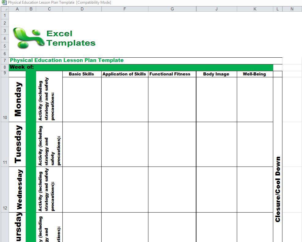 Lesson Plan Calendar Template Excel