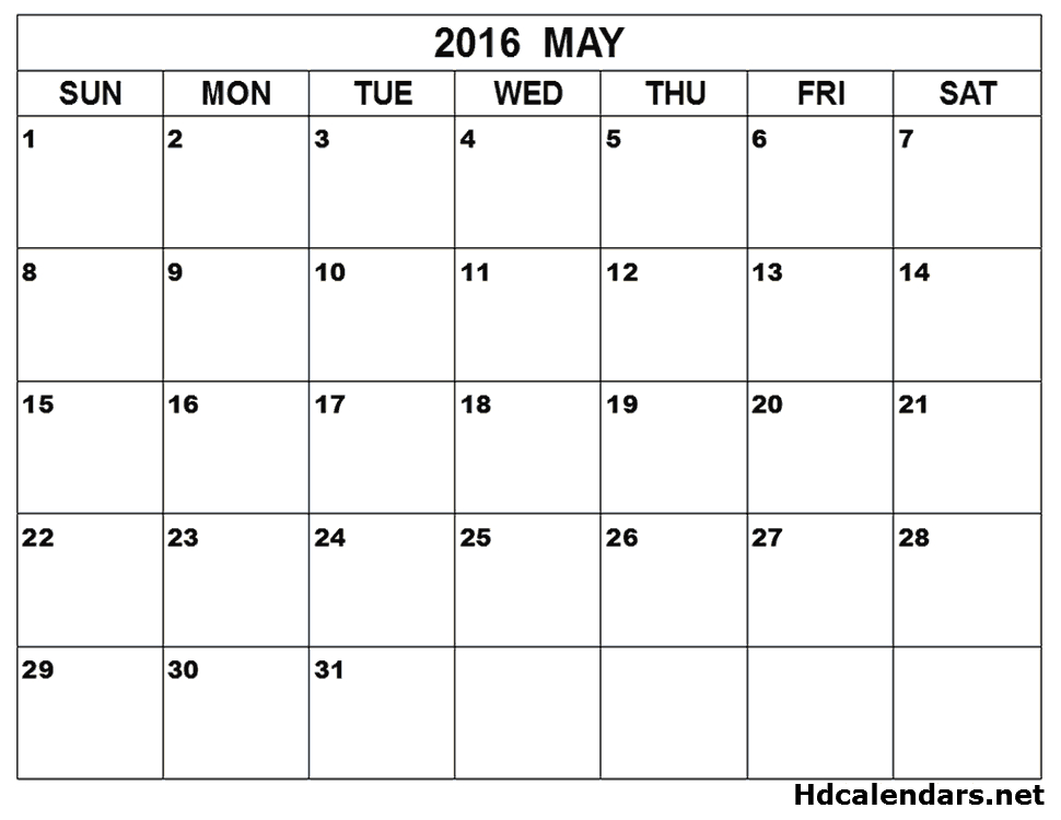 May 2016 Calendar Month