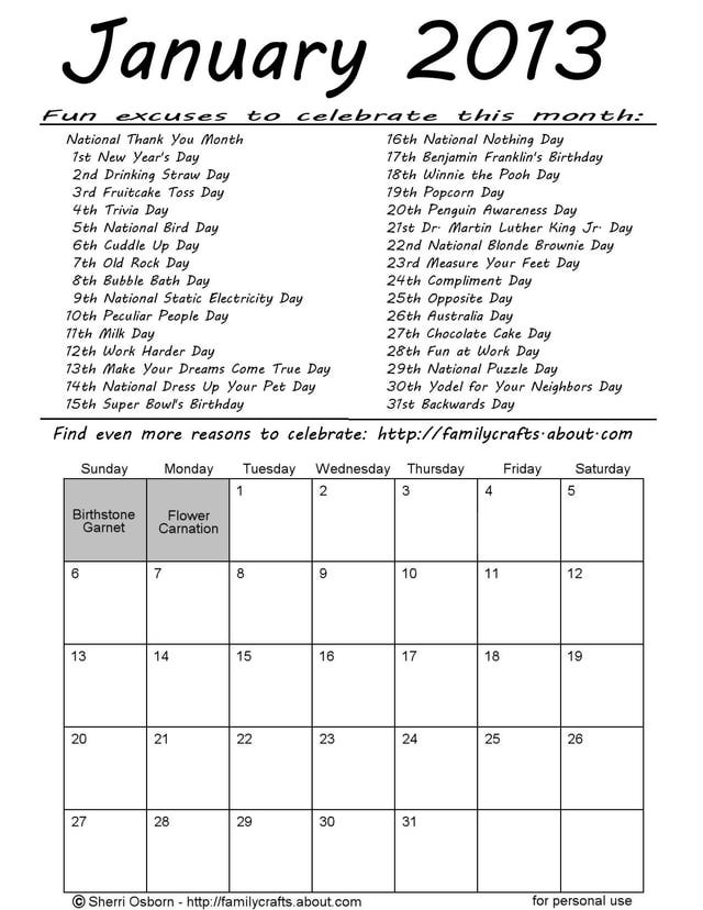 Printable 2013 Funny Holiday Calendar Pages