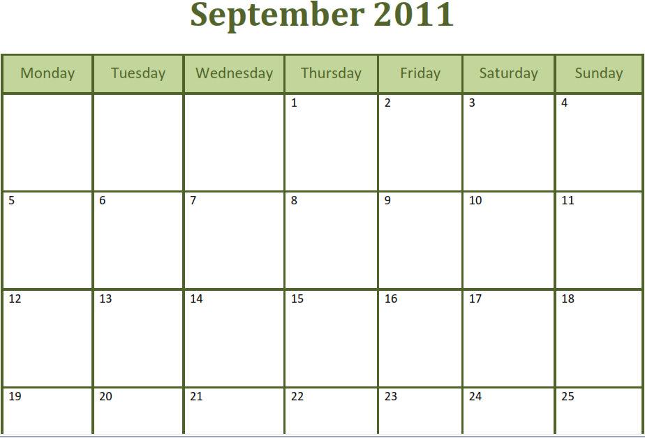 Printable Blank Pdf September 2011 Monthly Calendar