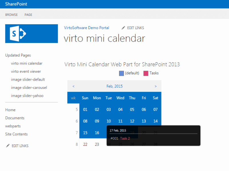 Sharepoint Mini Calendar Web Part