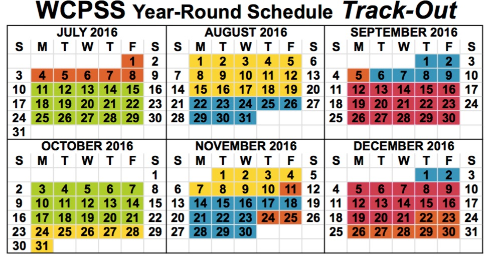 Year Round Calendar Template : Wake county schools year round calendar download pdf