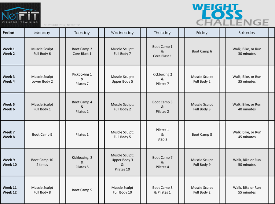 Weight Loss Calendar 2013