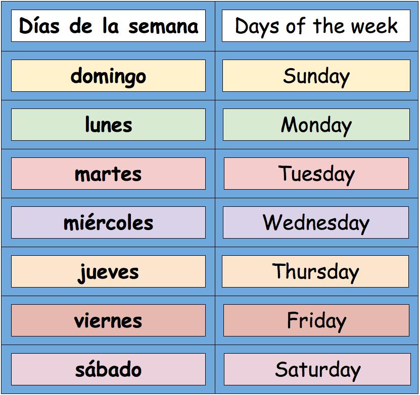 Days Of The Week Calendar » Calendar Template 2018