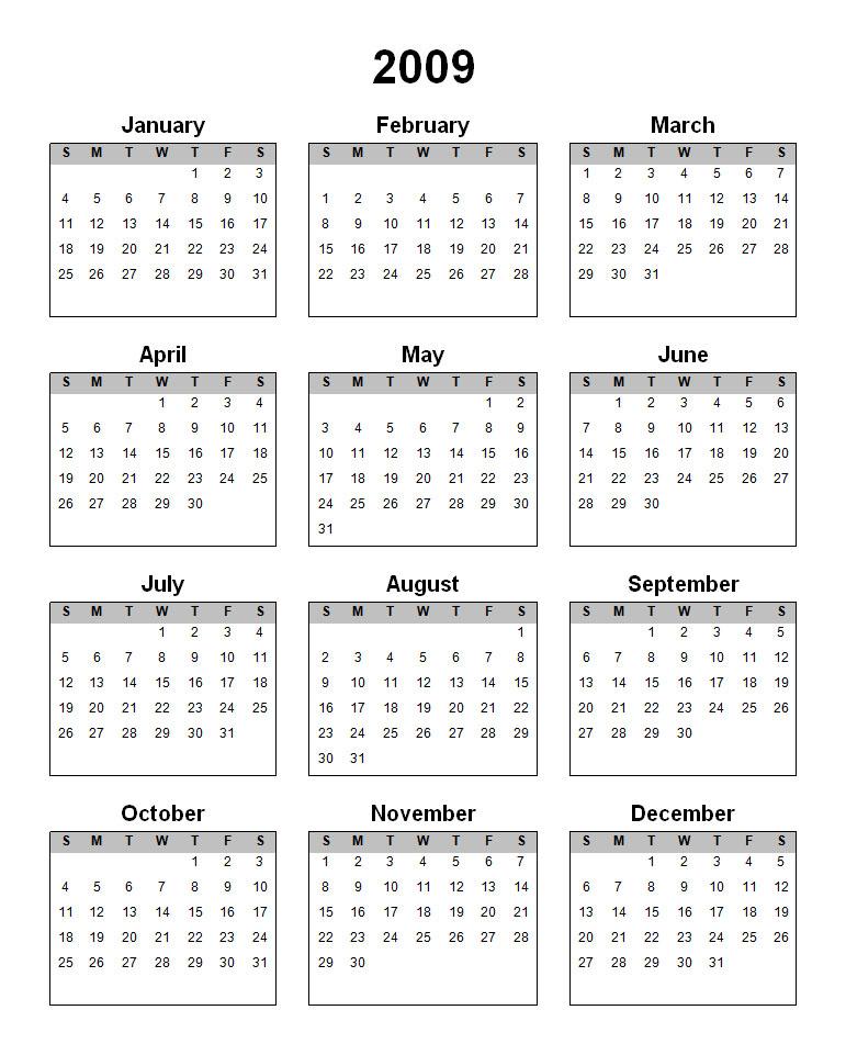2009 Calendar Australia