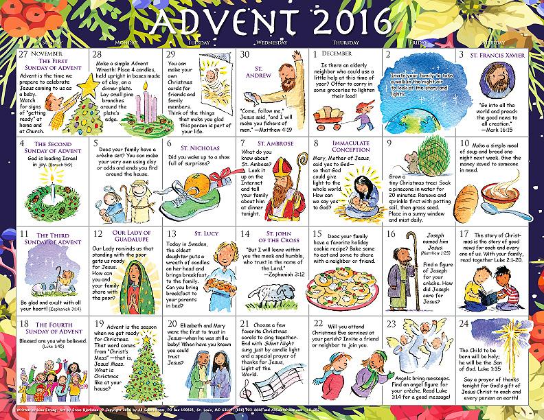 2016 Advent Calendar For Children