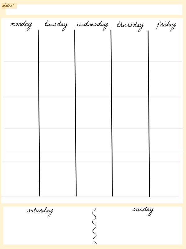 5 Day Weekly Calendar – Daily Agenda Calendar