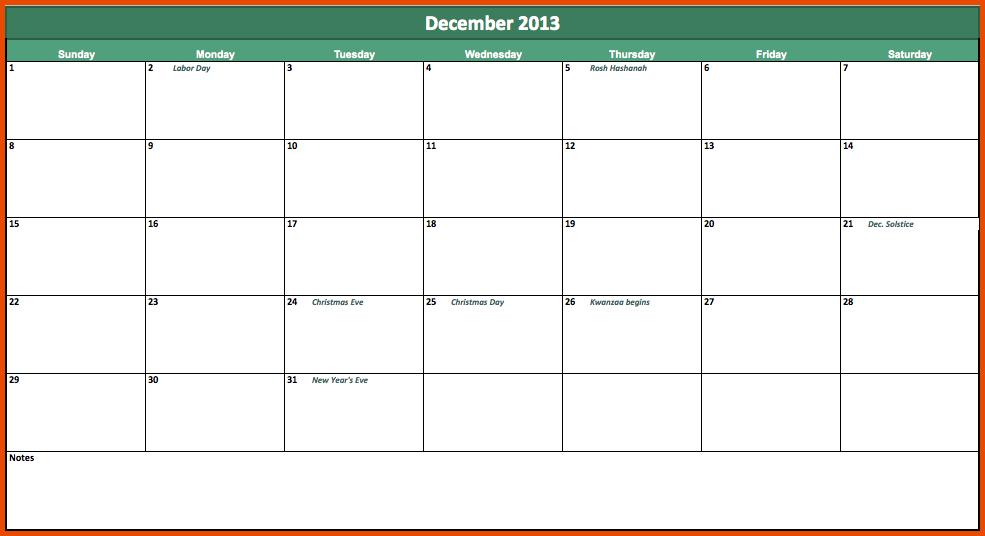 6+ Excel Weekly Calendar Template