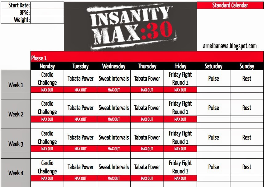 Arnel Banawa  Insanity Max 30 Workout Sheets
