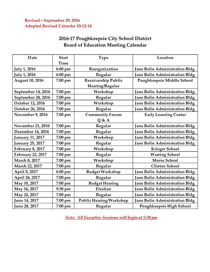 Board Of Education Meeting Calendar   Overview