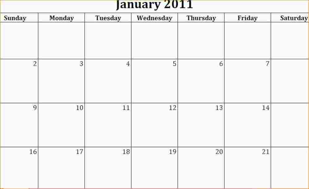 Doc  552427  5 Day Calendar Template Word – Blank 5 Day Calendar
