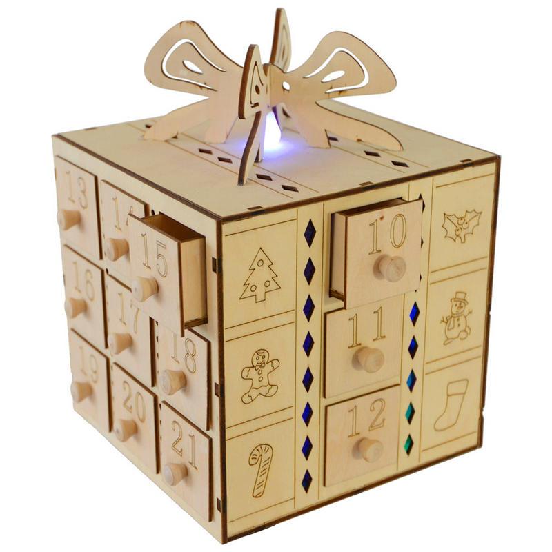 Fesitive Multi Led Light Up Gift Box Design Wooden Advent Calendar