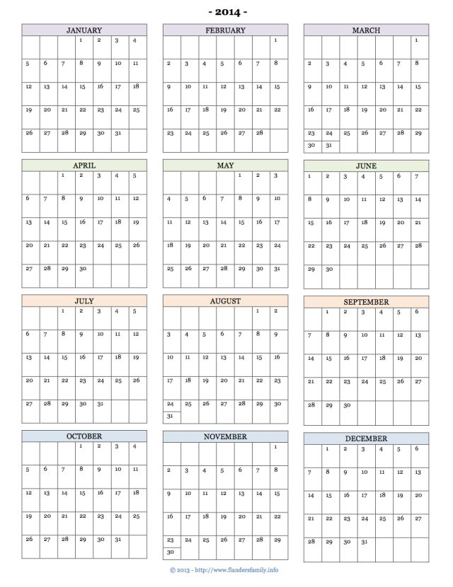 Free Printable Calendars For 2014  Monthly Pages, Year At A Glance