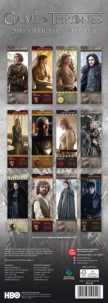 Game Of Thrones Slim Calendar 2017