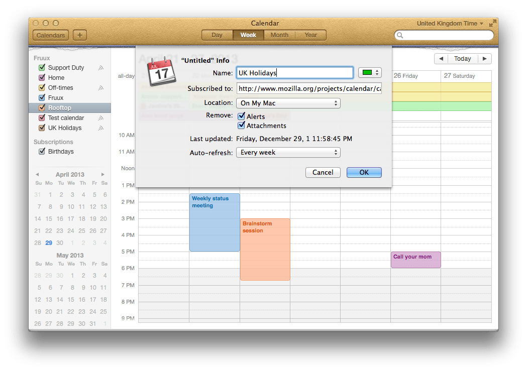 Holiday Calendar Subscription Ical