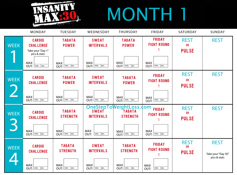 Ilates Monthly Calendar Results : Insanity calendar month template