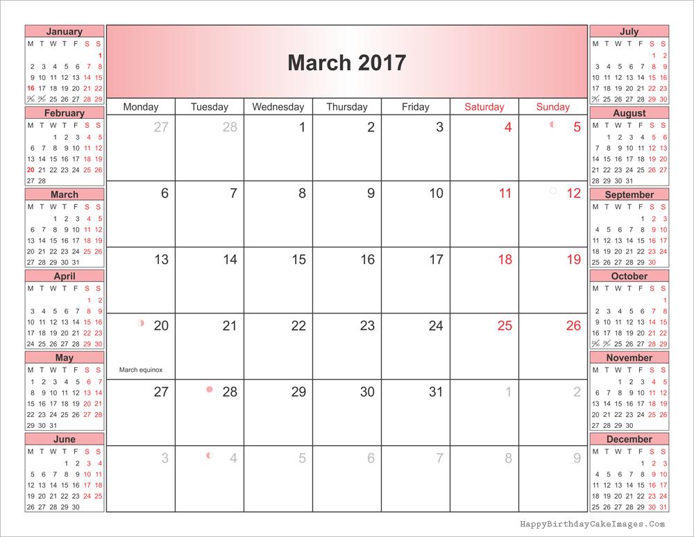 March 2017 Calendar Printable Word, Pdf, Editable With Holidays