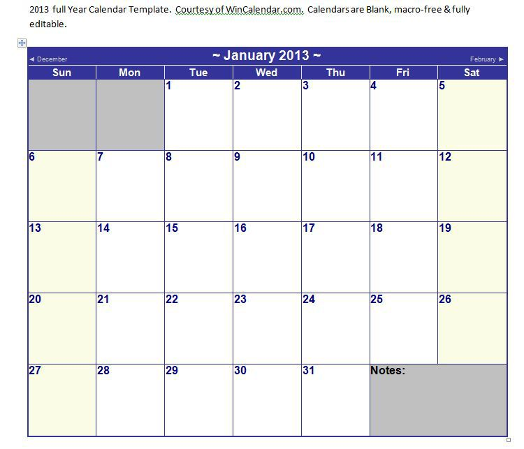Microsoft Outlook Calendar Template For Word