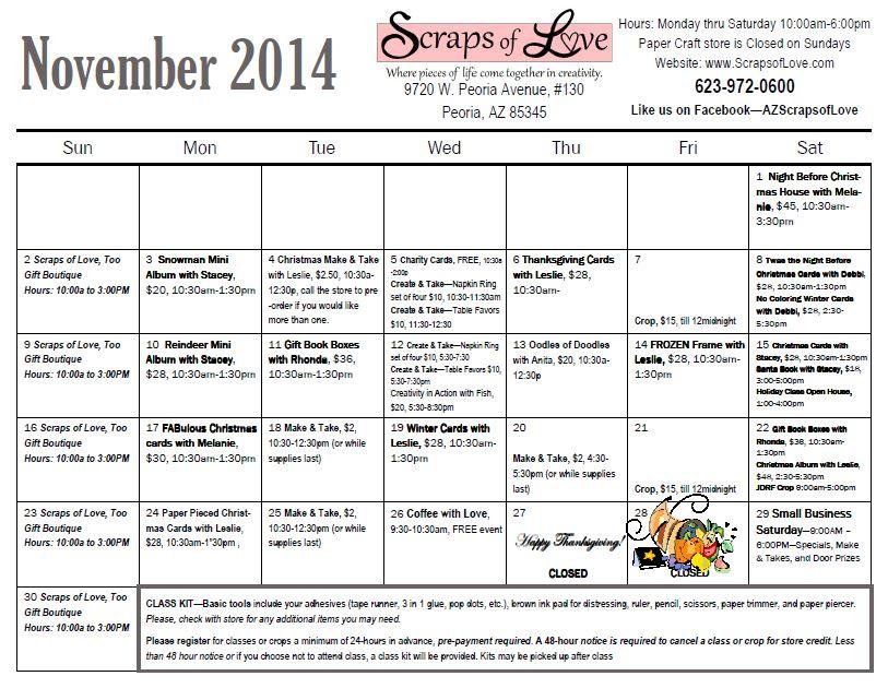 New! November Calendar
