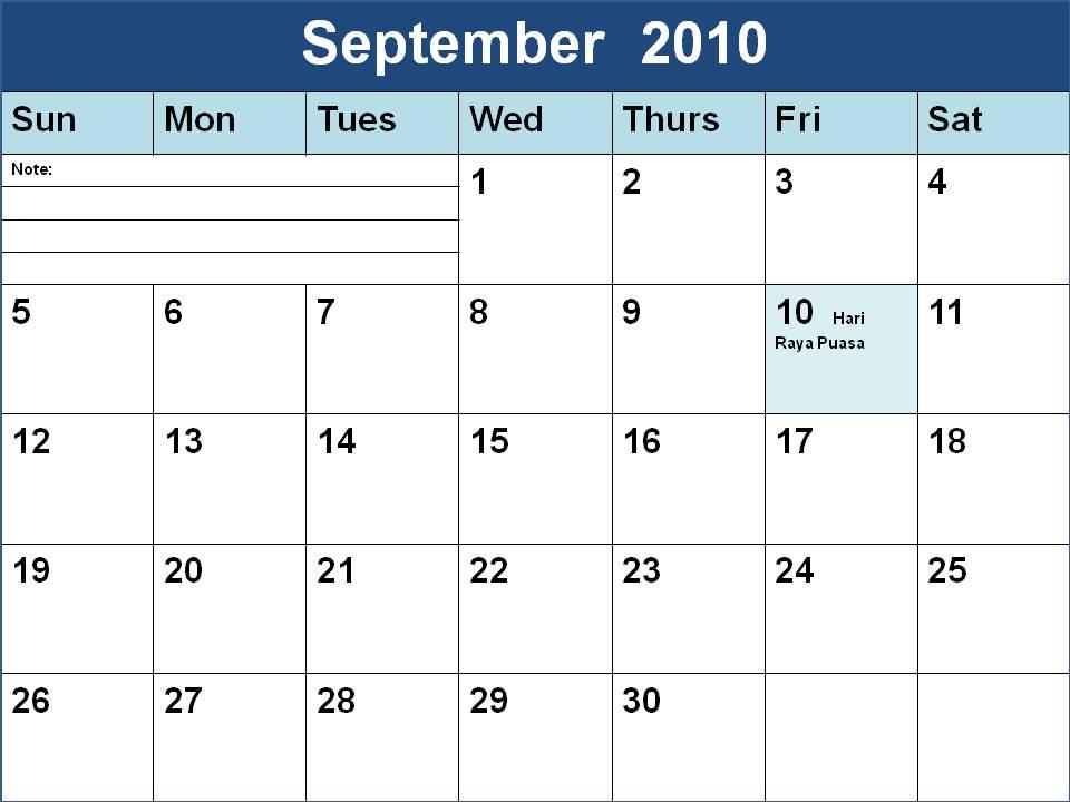 September 2009 Calendar With Holidays