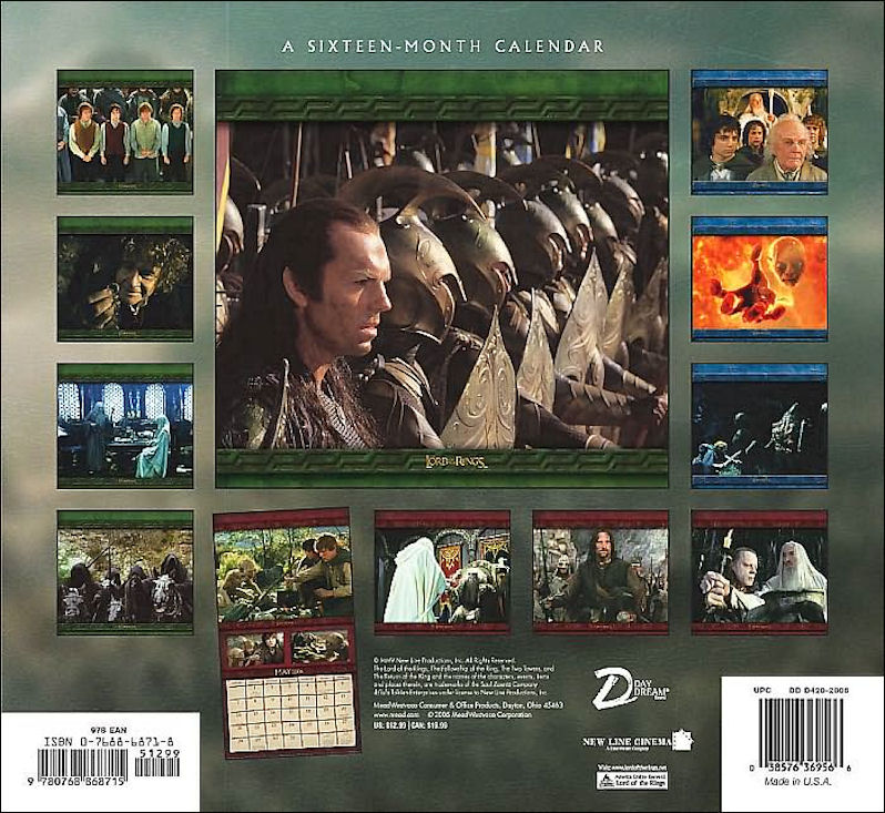 Tolkien And Lord Of The Rings Calendars For Years 2006