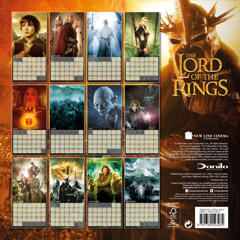 Tolkien And Lord Of The Rings Calendars For Years 2011