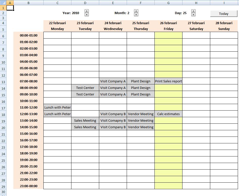 Weekly Calendar In Excel