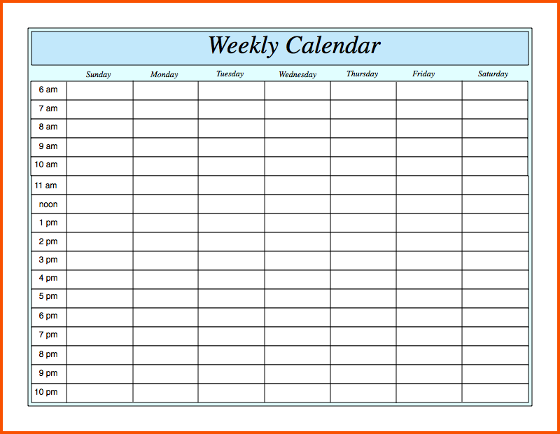 Weekly Calendar With Times » Calendar Template 2017