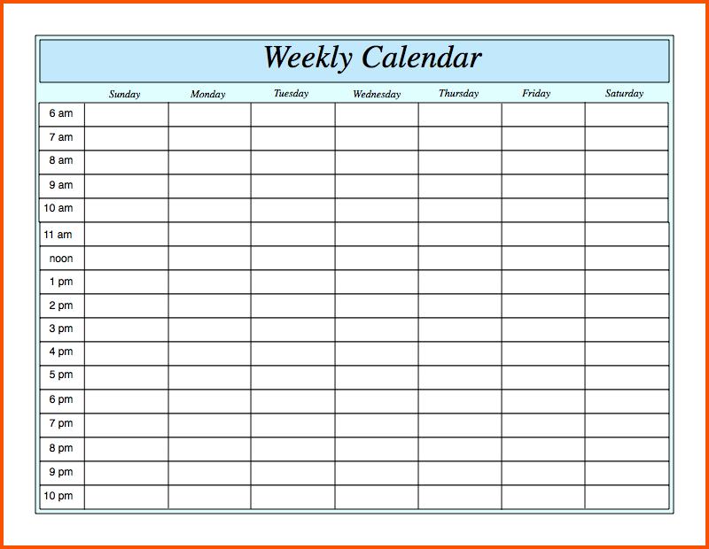 11+ Weekly Calandar