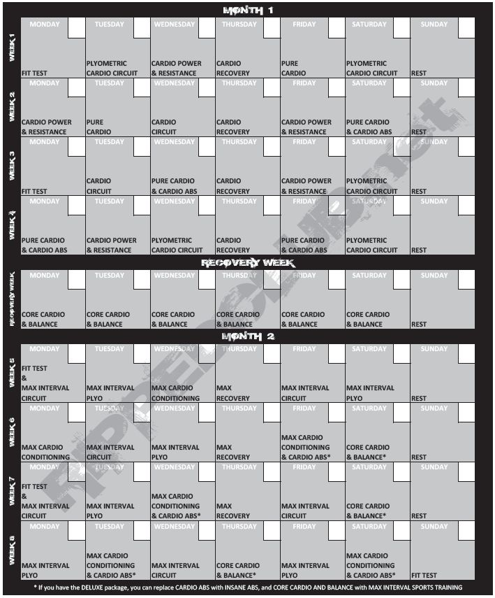 17 Best Ideas About Insanity Workout Calendar On Pinterest