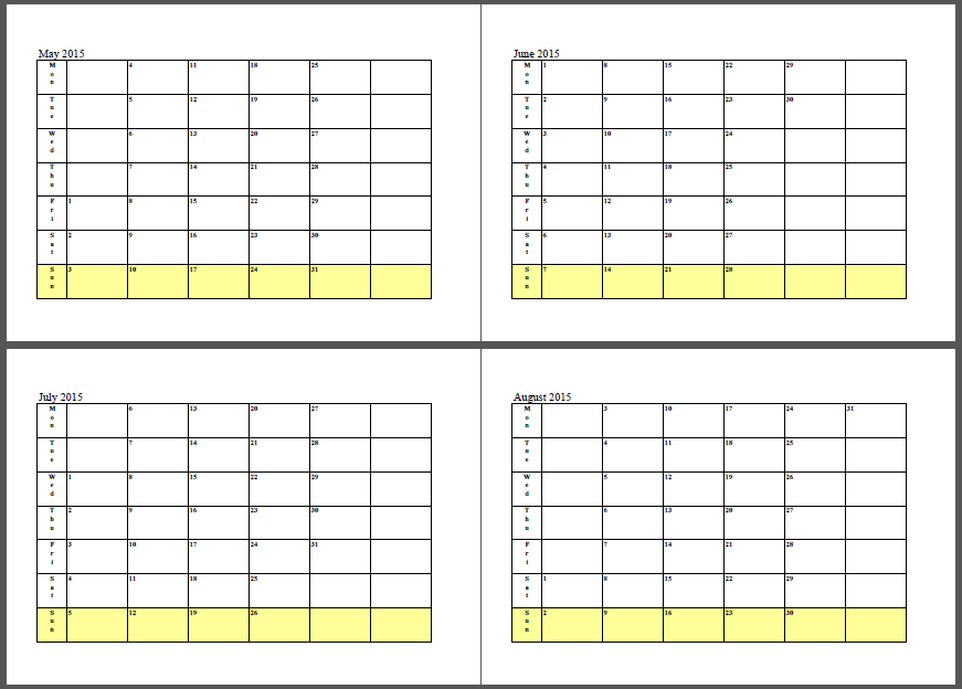 Calendar June July August 2017 : June and july calendar template
