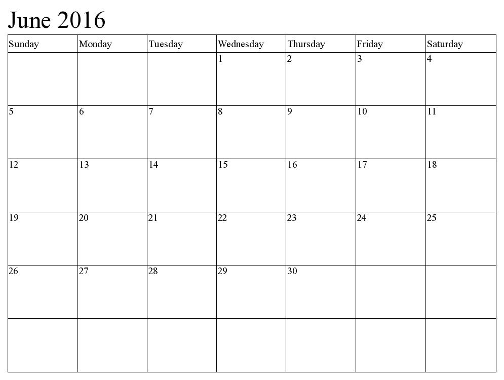 2016 Calendar June And July