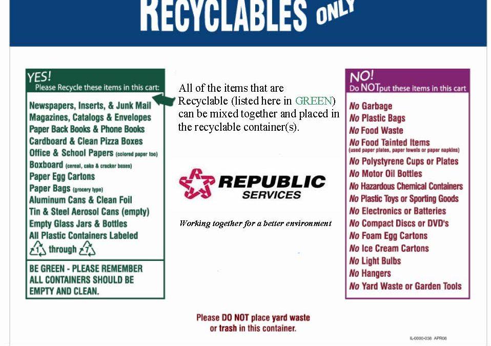 Calendar Republic Services : Republic services recycling calendar template