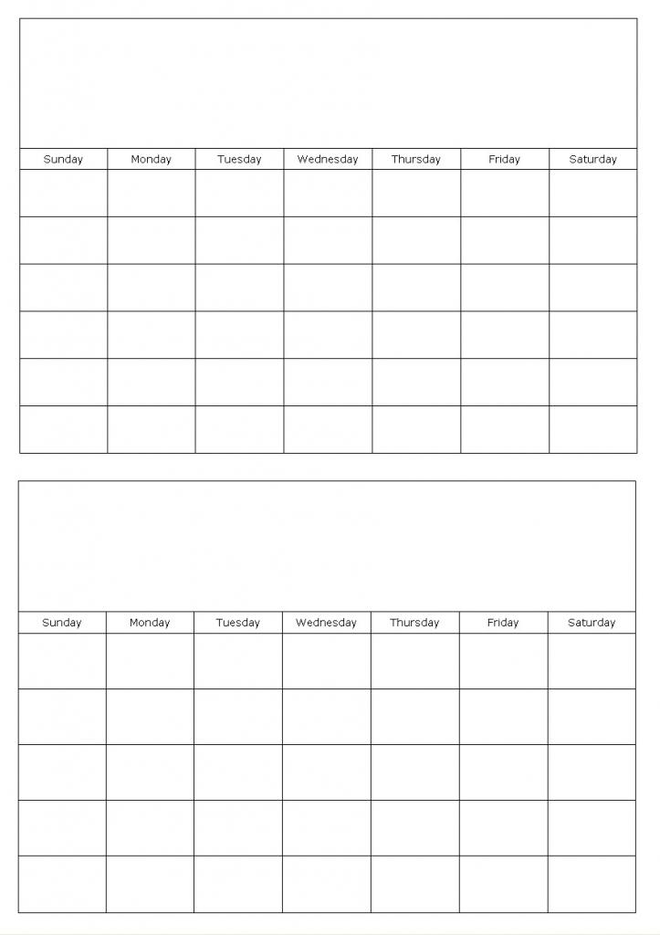 2 Month Calendar Printable