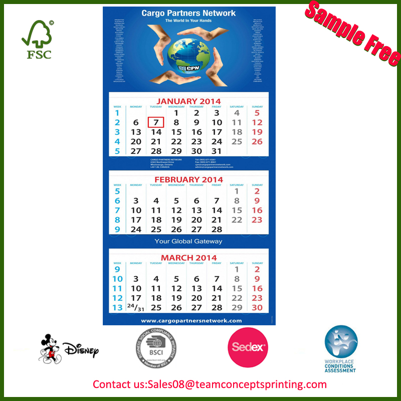 3 Month Wall Calendar For Promotion Gift, 3 Month Wall Calendar