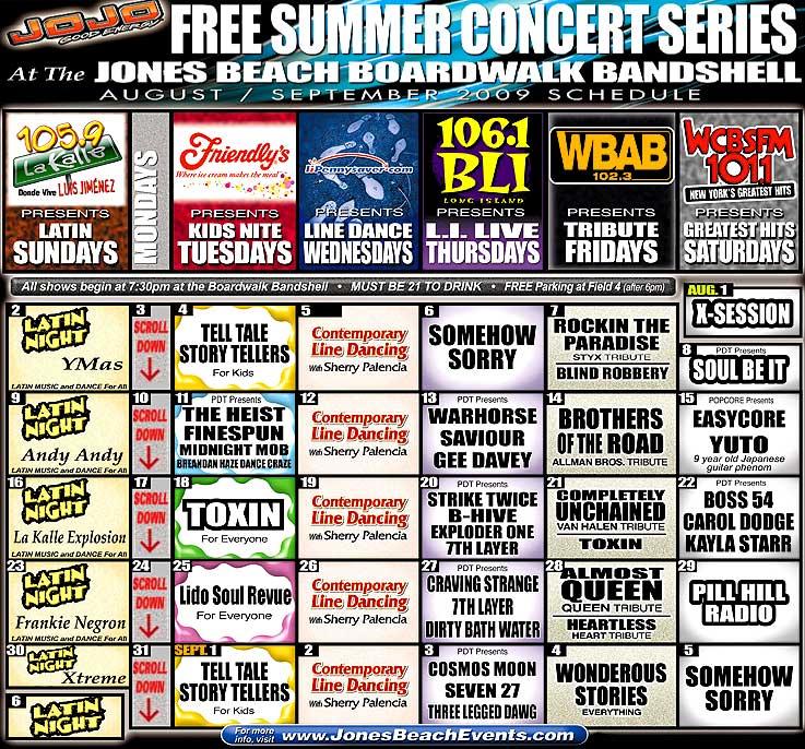 Jones Beach Concert Calendar Template 2018