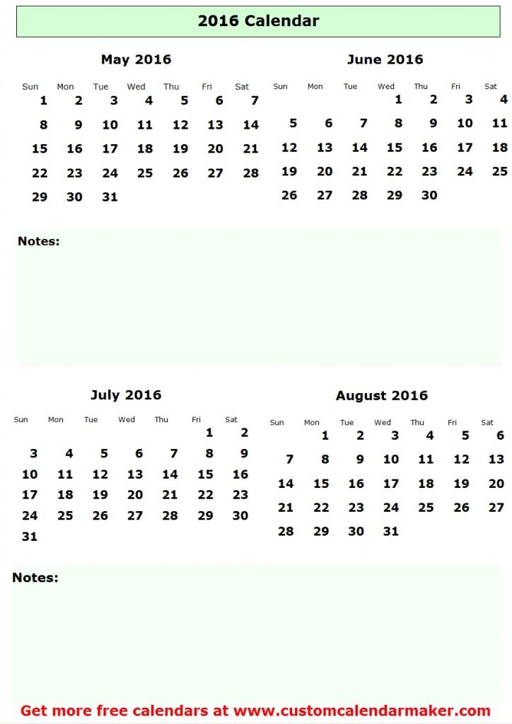 Calendar July 2016 Through June