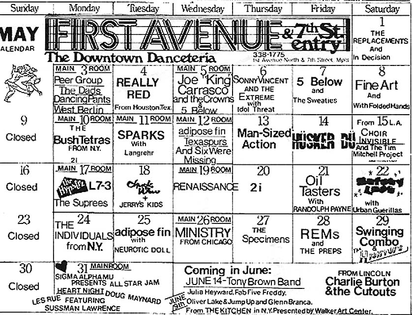Husker Du 14 May 1982 Club Calendar (7th St Entry, Minneapolis)