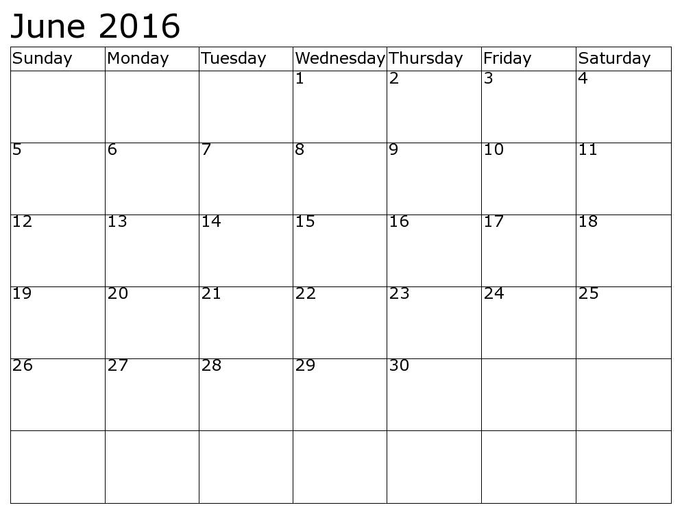 June And July 2016 Calendar