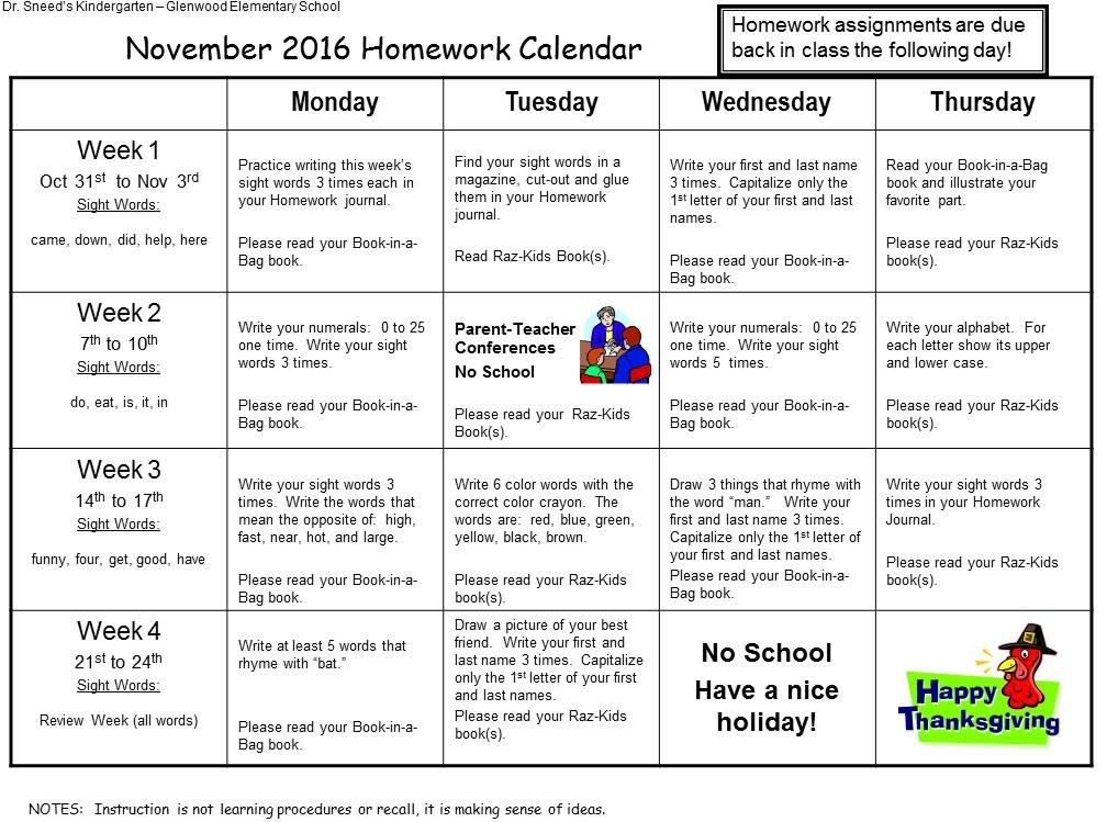 First Grade Homework Calendar » Calendar Template 2018